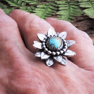 artisan turquoise flower sterling silver ring