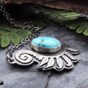 handmade sterling silver fern necklace with turquoise