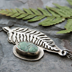 Vertical Fern Frond Necklace with Tree Frog Variscite Stone