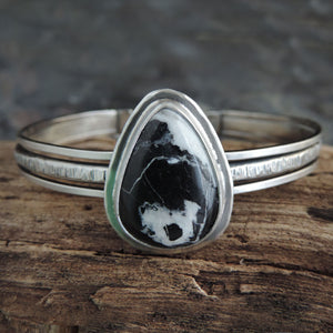 White Buffalo Turquoise Triple Band Cuff Bracelet