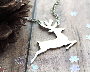 Dashing Reindeer Sterling Silver Necklace
