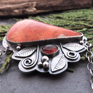 Apple Coral and Red Garnet Gemstone Statement Necklace