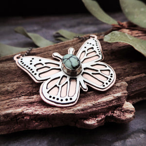 Butterfly Necklace with Variscite Gemstone