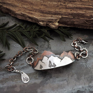 sterling silver and copper mountain bracelet
