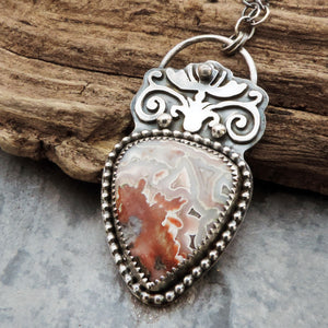 Crazy Lace Agate Flourish Design Necklace