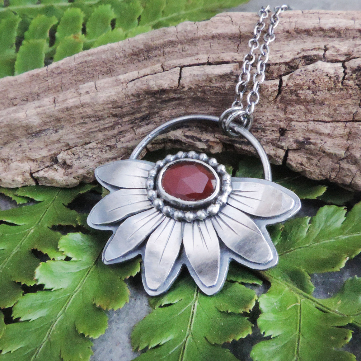 red garnet sterling silver flower necklace