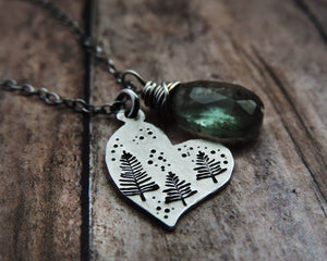 sterling silver necklace heart pendant moss aquamarine gemstone