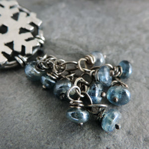 Silver Snowflake Necklace with Blue Kyanite Dangles