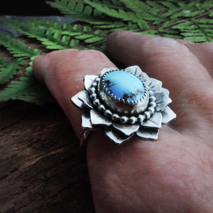 golden hills turquoise flower ring