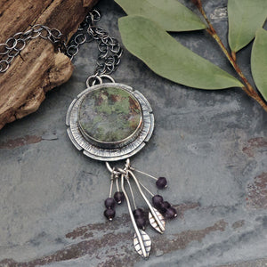 Moss Agate Pendant Necklace with Amethyst Drops