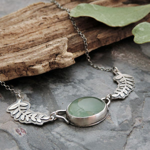 Moss Aquamarine Leafy Branch Necklace