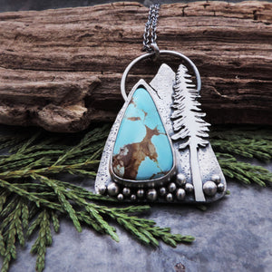Royston Turquoise Mountain and Pine Tree Necklace