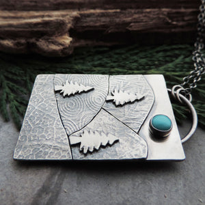 Patchwork Mountain and Pine Tree Necklace