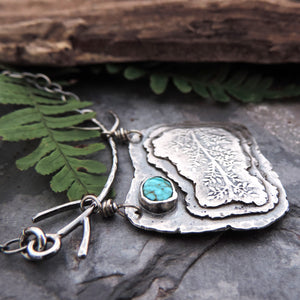 Silver Organic Botanical Necklace with Turquoise Stone