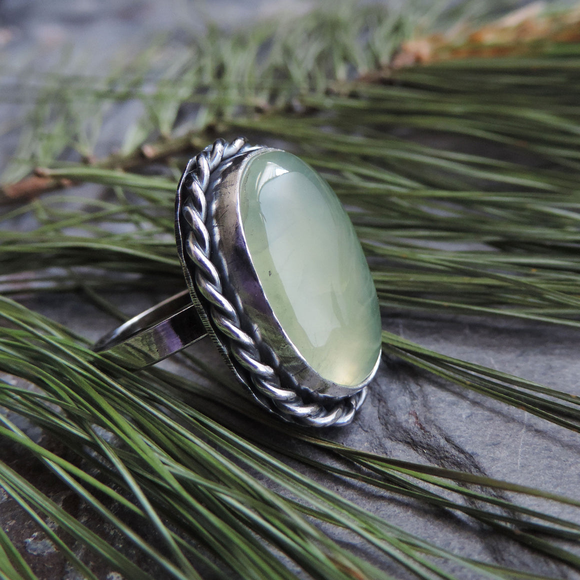 Oval Green Prehnite Gemstone Ring - Size 7
