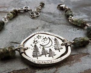 Starry Sky and Pine Trees Organic Bracelet