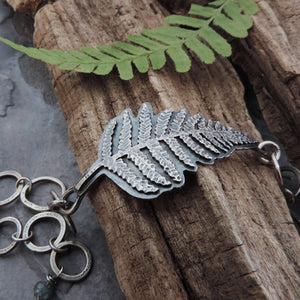 botanical fern bracelet with handmade links