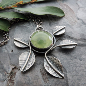prehnite gemstone with leaves pendant necklace