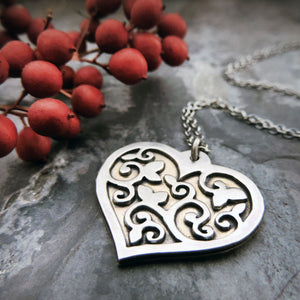 silver and brass vine heart pendant necklace
