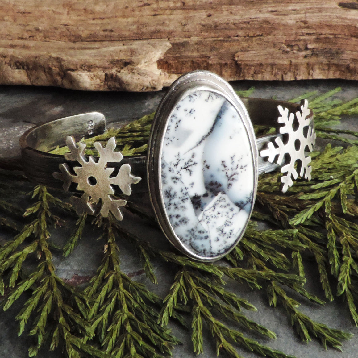 Snowflake Cuff Bracelet with Dendritic Opal