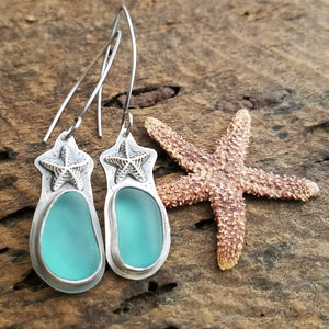 handmade aqua blue beach earrings with starfish