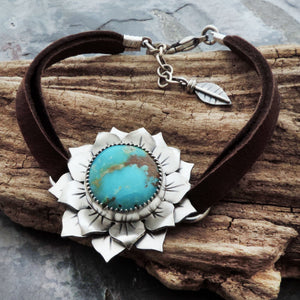 Fox Turquoise Sunflower Bracelet on Leather Band