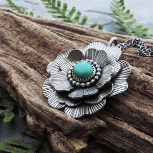 Wavy Multi-Layered Flower Pendant with Turquoise Center