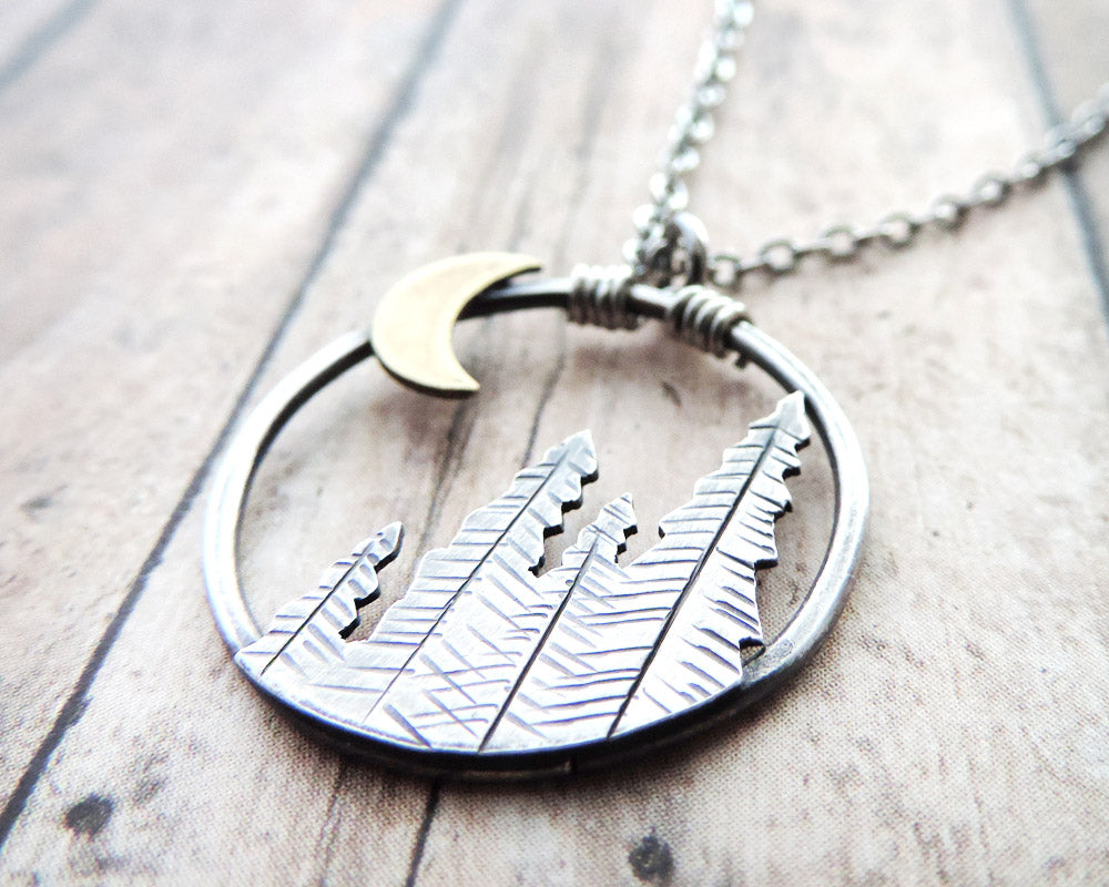 Pine Trees and Crescent Moon Necklace