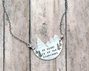 my heart is in the mountains necklace