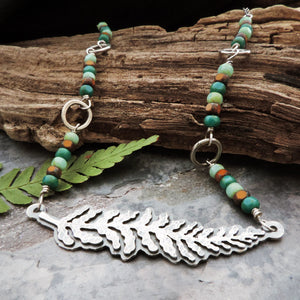 handmade sterling silver beaded fern necklace