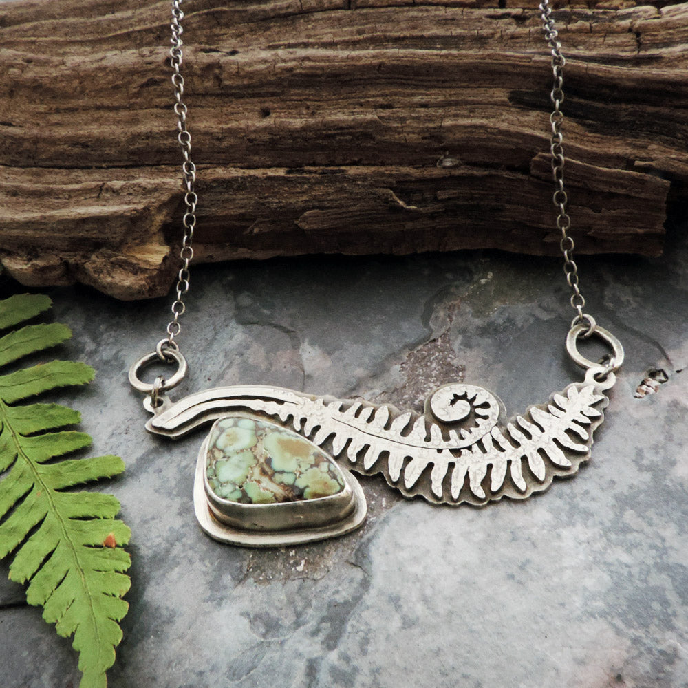 sterling silver unfurling fern pendant with variscite stone