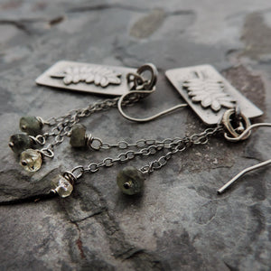Botanical Earrings with Moss Aquamarine Rondelles