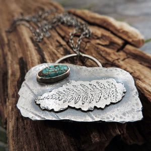 Silver Organic Fern Imprint Necklace with Turquoise Stone
