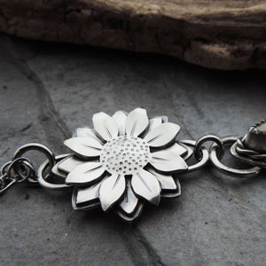 Flower Necklace with Natural Fossil Coral Drop