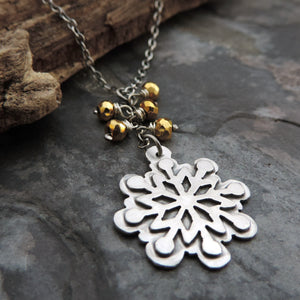 Silver Snowflake and Gold Pyrite Necklace