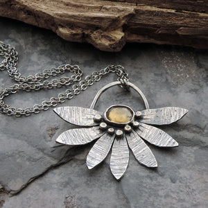 Textured Flower Petals Necklace with Citrine Gemstone