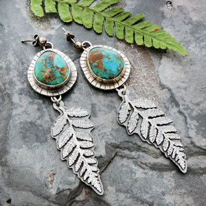 Fern Earrings with Kingman Turquoise Stones