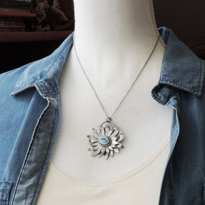 Bold Sunflower Pendant with Lavender Turquoise