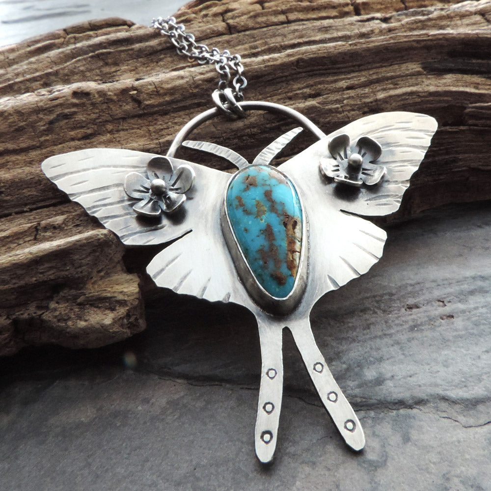 sterling silver and turquoise luna moth necklace