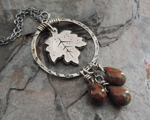 handmade maple leaf pendant necklace