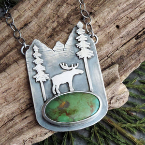 moose in the mountains turquoise necklace