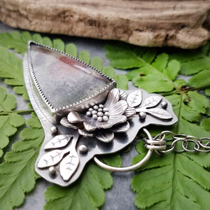 handmade silver moss agate flower necklace