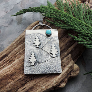 handmade necklace mountains pine trees turquoise