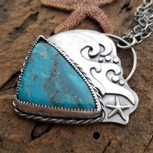 Ocean Waves Necklace with Campitos Turquoise