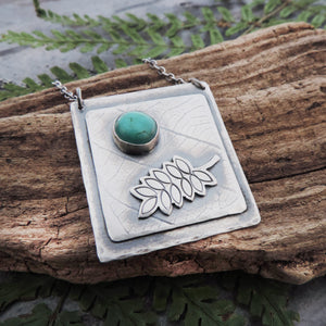Silver Organic Botanical Imprint Fern Necklace with Turquoise Stone