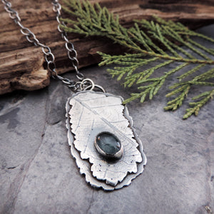 Silver Organic Leaf Imprint Necklace with Moss Aquamarine