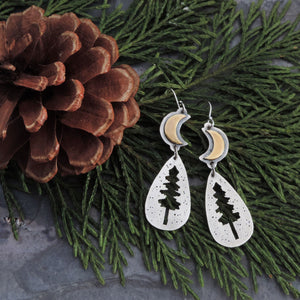 Pine Tree Silhouette and Crescent Moon Earrings