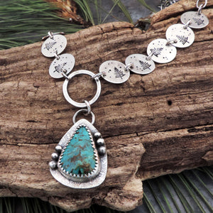 nature inspired pine tree turquoise necklace