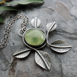 sterling silver nature necklace with leaves and prehnite gemstone