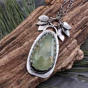 Green Prehnite Gemstone Necklace with Leaves